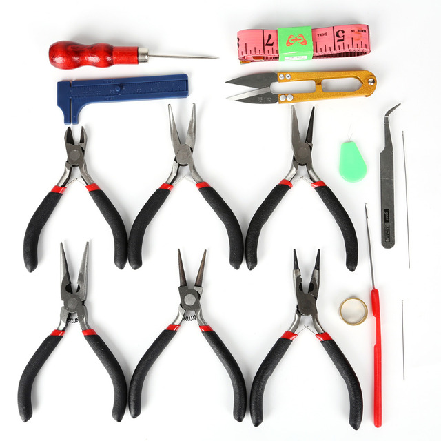 Jewelry Findings Tools Jewelry Making Set Flat Nose Pliers Beading Needles Kit Fit DIY Jewelry Making Tools & Equipment