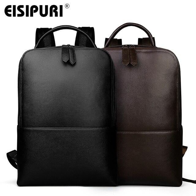EISIPUR Fashion Men 100% Genuine Leather Backpack Male High Quality Waterproof Bagpack 15.6 Laptop Backpack Travel School Bag 3