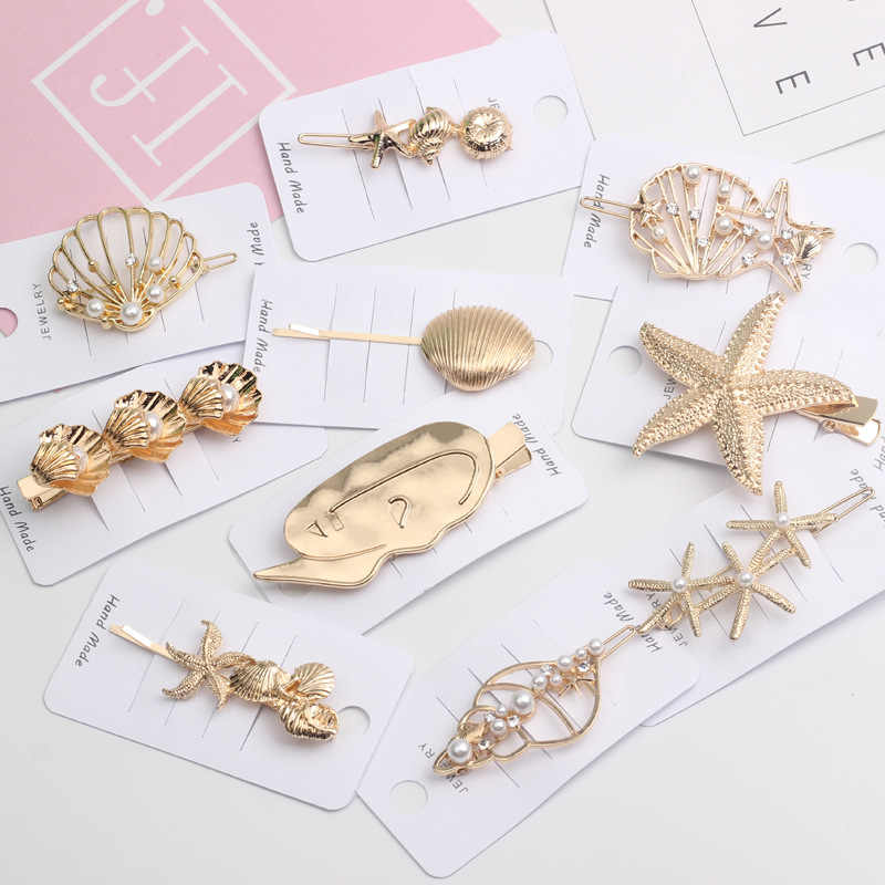 Ruoshui Metal Colors Hairpins for Woman Girls Alloy Starfish Hair Clips Shell Shape Barrettes Women Hair Accessories Hairgrip