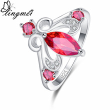 lingmei New Arrival Marquise Red & Olive Green White CZ Silver 925 Ring Size 6 7 8 9 Unique Elaborate Original Women Jewelry
