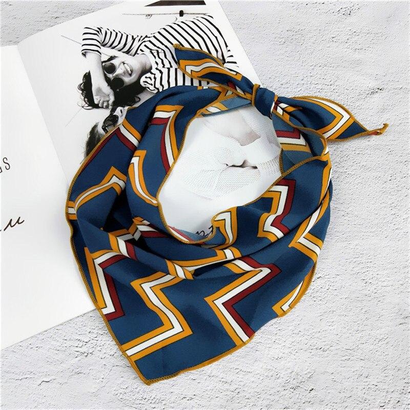 35*85cm New Fashion Women Neckerchief Hair Tie Band Chic Soft Silk Scarf Echarpe Foulard Femme Vintage Triangle Scarf