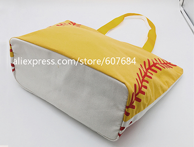 Super Large High Quality Softball Baseball Canvas Cotton Girls Tote Bags Team Players Accessories Yellow White Handbags 5