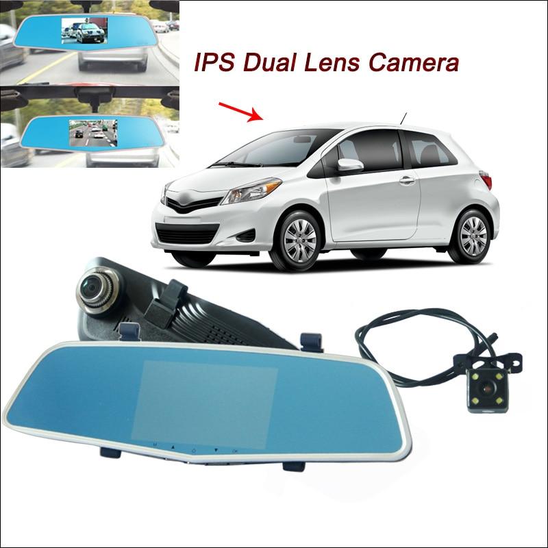 цена на BigBigRoad For toyota yaris camry Car DVR Rearview Mirror Video Recorder Dual Camera Novatek 96655 5 inch IPS Screen