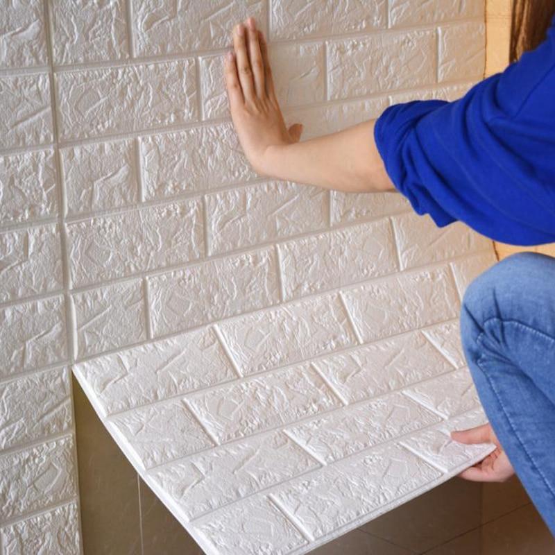 70 77cm 8pcs 3D PE Foam Stone Brick Panel Wall Sticker Home Decor TV Sofa Wall