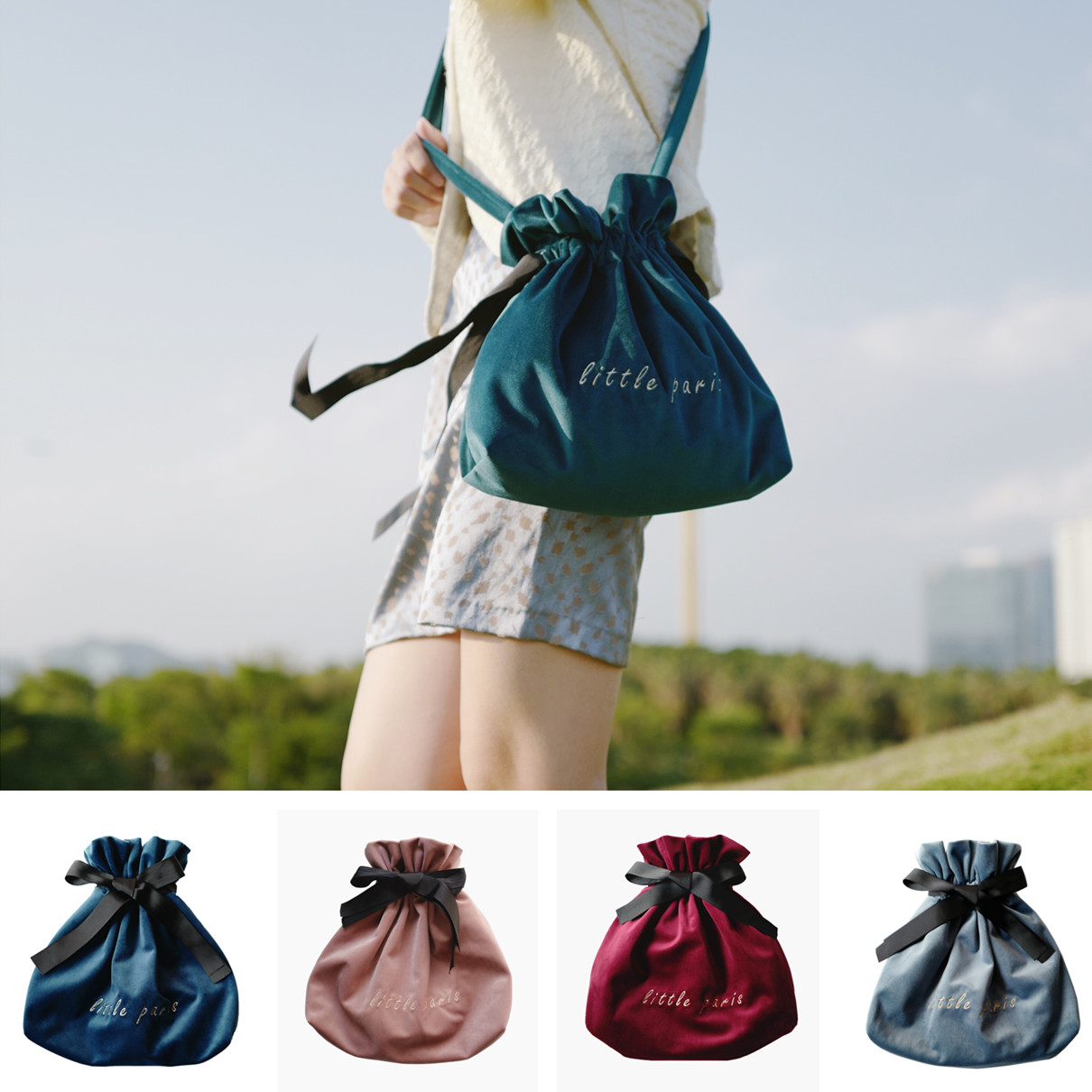 Little Paris Handmade Retro Velvet Embroidered Shoulder Bag Feel Silky Bucket Bag Women's  Drawstring Bag