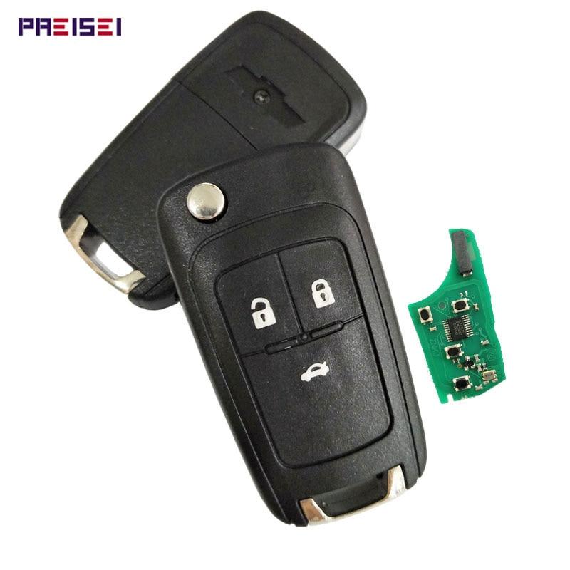PREISEI 3 Botão Substituição Virar Folding Remoto Chave Do Carro Para Chevrolet Cruze Malibu Aveo Faísca Vela Orlando 433MHz Chave ID46 Chip