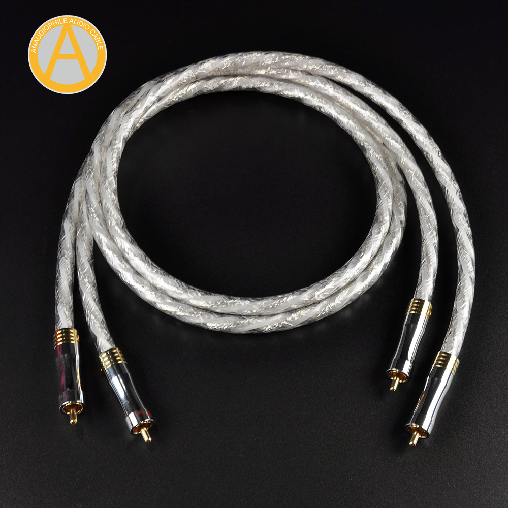 Reference RCA Cable Pair Hifi 7N OFC RCA Cable Sliver Plated RCA Interconnect Audio Cable RCA