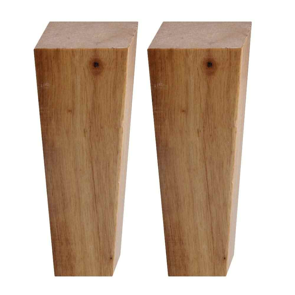 4pcs Wooden Furniture Legs Oak Wood Right Angle Cabinet Sofa Table Bed Feet With Iron Pads