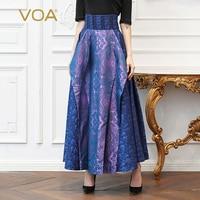 VOA Silk Jacquard Purple Blue Long Skirts Women Plus Size 5XL High Waist A Line Skirt Vintage Swing Female Casual Spring C363