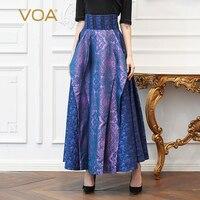 Voa шёлковый жаккард фиолетовый синий женские длинные юбки плюс Размеры 5XL Высокая Талия линии юбка Винтаж качели женские Повседневное Весна