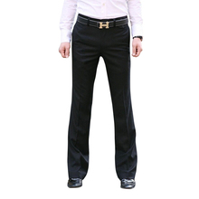 2019 Micro-horn trousers Male Business Black straight Wide-leg Suit pants British Casual Mens big