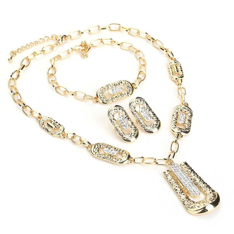 BTSETS African Beads Jewelry Set Imitation Crystal Dubai Jewelry Sets For Women Luxury Geometric Nigerian Wedding Jewelry Set