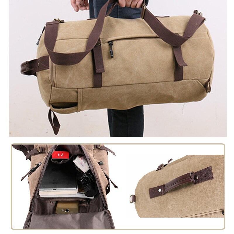 1 Pcs Vintage Reise Totes Taschen Leinwand Reisetasche Männer Reise Rucksack