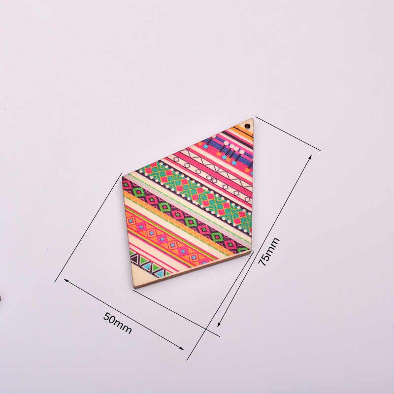 JUNAO 50x75mm 10 pc לערבב צבע תפירת בוהמיה עץ Rhinestones רעיונות עץ שבבי תליון DIY עץ עגילים תכשיטי ביצוע