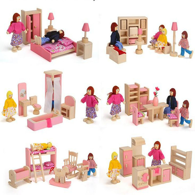 6 rooms children whole set wood pink furniture doll house toys/ Kids girls birthday gifts of wooden kitchen bathroom bedroom toy
