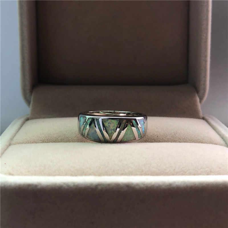 Dễ thương Đời Boho Nữ Bạc 925 Đính đá Trắng Vintage Opal Nhẫn Cưới Phong Cách Độc Đáo Lời Hứa Cho Nữ, Nhẫn Nữ