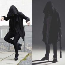 Мода Хип-хоп мантии Худи кофты Для мужчин новый осень с капюшоном черное платье куртка плащ с длинными рукавами человека Пальто и пуховики Street moletom