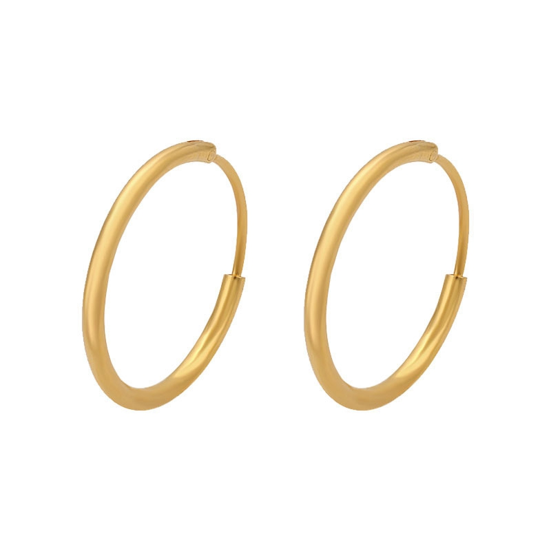 Circle Thin Earrings  Solid Yellow Gold Filled Womens Girls Small Hoop Earrings Accessories Dia 20mm