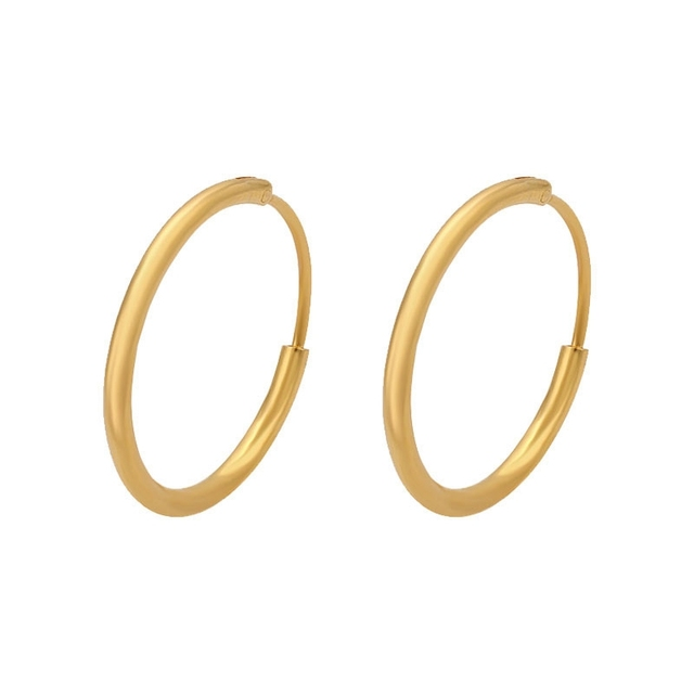 Circle Thin Earrings Solid Yellow Gold Filled Womens S Small Hoop Accessories Dia 20mm
