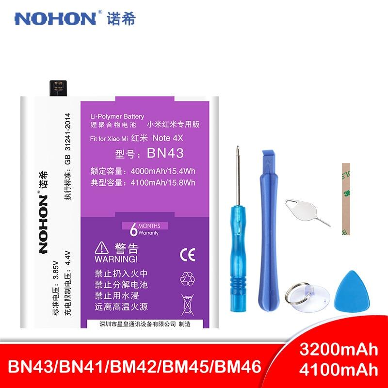 NOHON BN43 BN41 BM42 BM45 BM46 Bateria Para Xiaomi Hongmi Redmi Nota 2 3 4 4X Note2 Note3 bateria De Polímero De Lítio baterias de substituição