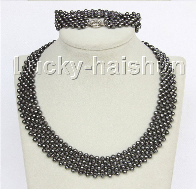 "Genuine 17"" 7"" Black Hematite Stone Choker bracelet necklace set j11074"
