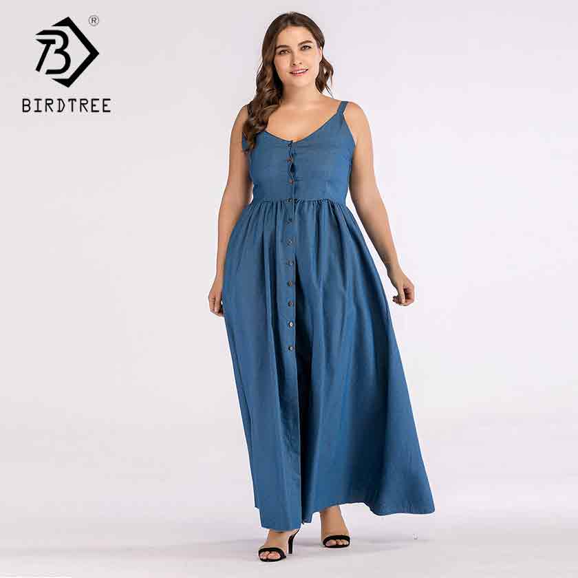 2019 Nouveau Femmes Spaghetti Sangle Denim Bleu Col En V Taille Haute Bouton Robe Plage Dos Nu Grande Taille 4xl Feminina Vestido D93319x Leather Bag