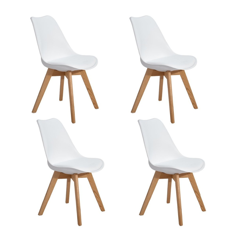 EGGREE Set of 4 Dining/Office Chair With Solid Wood Beech Legs Leisure Bar Coffee Chair Modern Design For Reception Room White