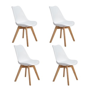 EGGREE Set of 4pcs Dining Chair with Solid Beech Wood Legs for Dining Room - White - Fast Delivery 2-8days Europe Warehouse