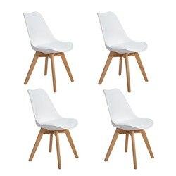 Juego de 4 Uds de sillas de comedor EGGREE con patas de madera de haya sólida para comedor-Blanco-entrega rápida, almacén europeo de 2-8 días