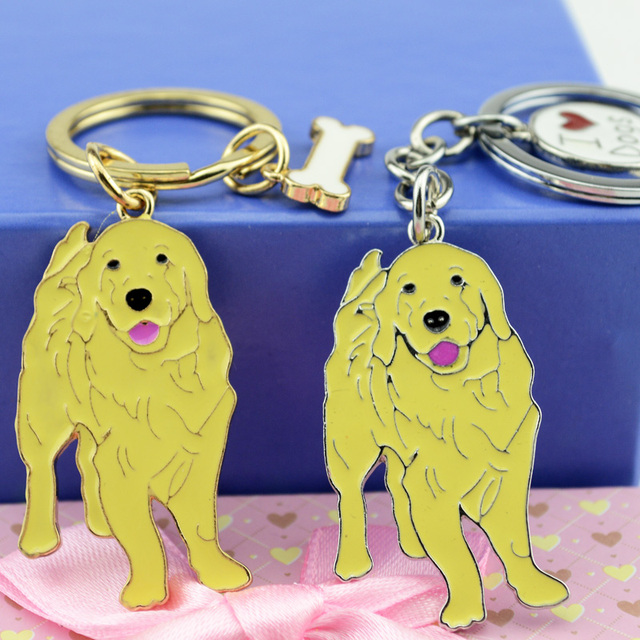 Golden Retriever PET Key Chain Women Luxury Metal Car