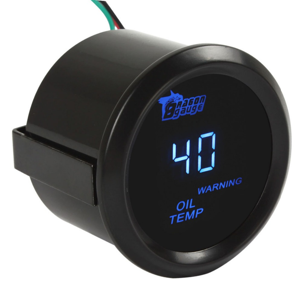 Plastic + Metal 2 Inch / 52mm Digital Blue LED Electronic Oil Temp Gauge Kit for Car / Trucks / Motorcycle