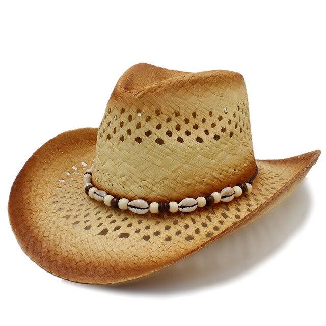 Fashion Women Western Cowboy Hat With Beach shell Band For Lady Straw Beach  Sun Sombrero Cowgirl Hat Size 58CM f907063706d9