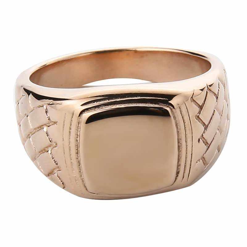 EdgLifU สแควร์ Signet แหวนผู้ชายไทเทเนี่ยมเหล็กเงินสีดำทอง Man แหวน anel เครื่องประดับใหม่สแตนเลสแหวนผู้ชาย