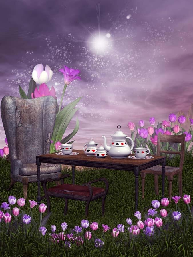 5x7ft Clouds Sky Night Green Grass Flowers Garden Chair