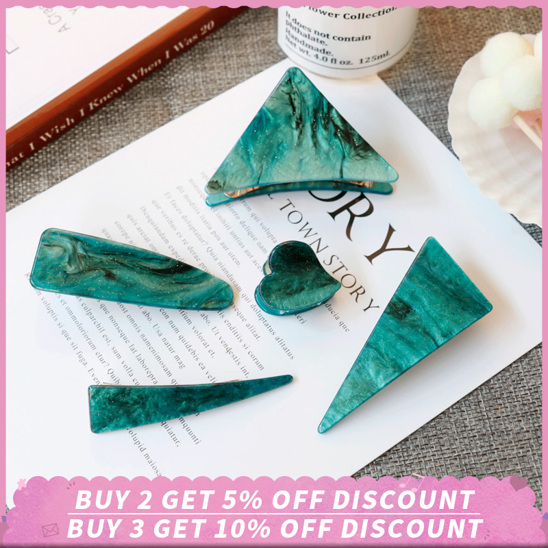 Elegance Women Hair Clips Emerald Series Hair Claw Heart Triangle Geometrical Acetate Hairpins Girl Women Hair Accessories