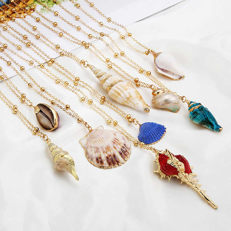 Hot Boho Conch Seashell Necklace for Women Fashion Gold Chain Choker Natural Shell Pendant Cowrie Necklace Female Summer Jewelry