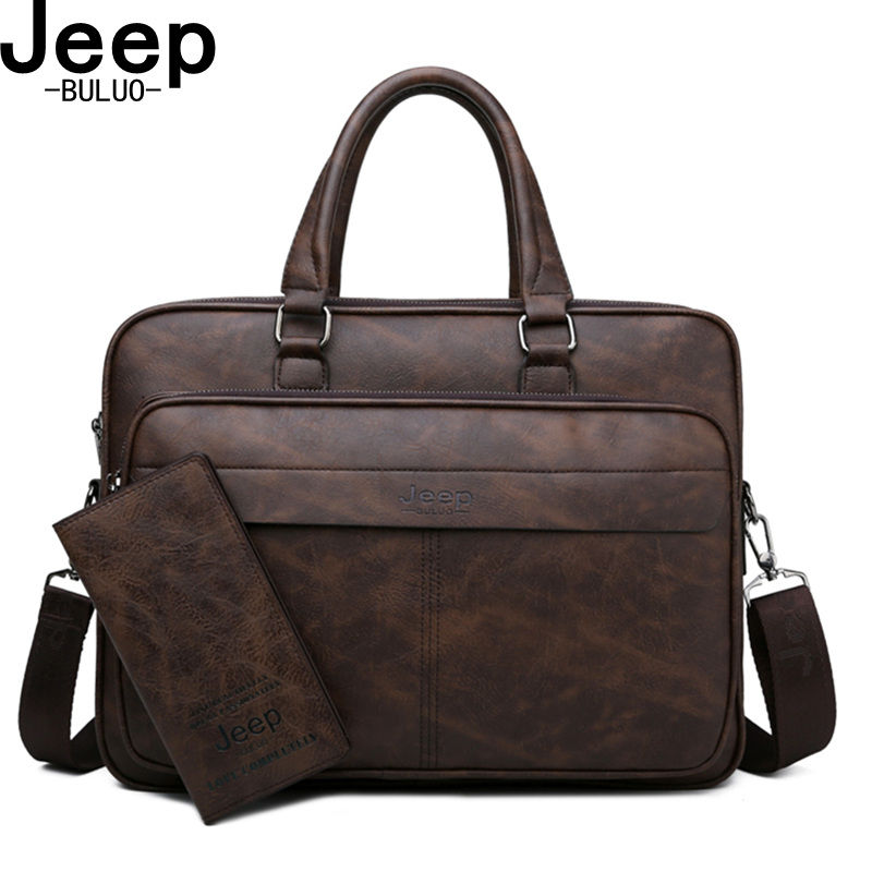 JEEP BULUO Famous Brand High Quality Business Leather Shoulder Messenger Bags Men s Briefcase Bag Travel