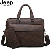 JEEP BULUO Famous Brand High Quality Business Leather Shoulder Messenger Bags Me