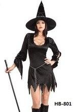 Ensen negro bruja mágica cosplay traje de halloween para las mujeres traje de la bruja ropa de baile sexy dress discoteca traje uniforme