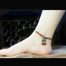 New Fashion  Red Rhinestone Longevity Lock Anklet For Women Jewelry Wholesale