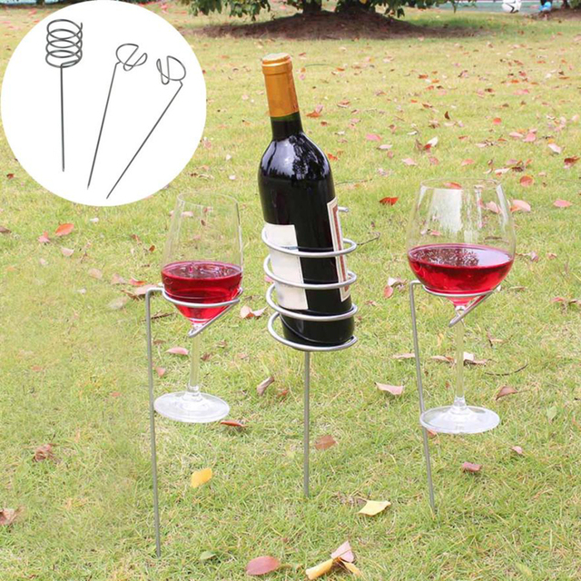 Wine Gl Bottle Holder Stake Set For Bbq Garden Picnic Camping Stakes Iron Gr