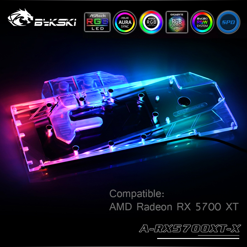 Bykski bloc d'eau utilisation pour RX 5700/5700XT carte AMD GPU/couvercle complet bloc de radiateur en cuivre/3PIN 5V A-RGB/4PIN 12V RGB