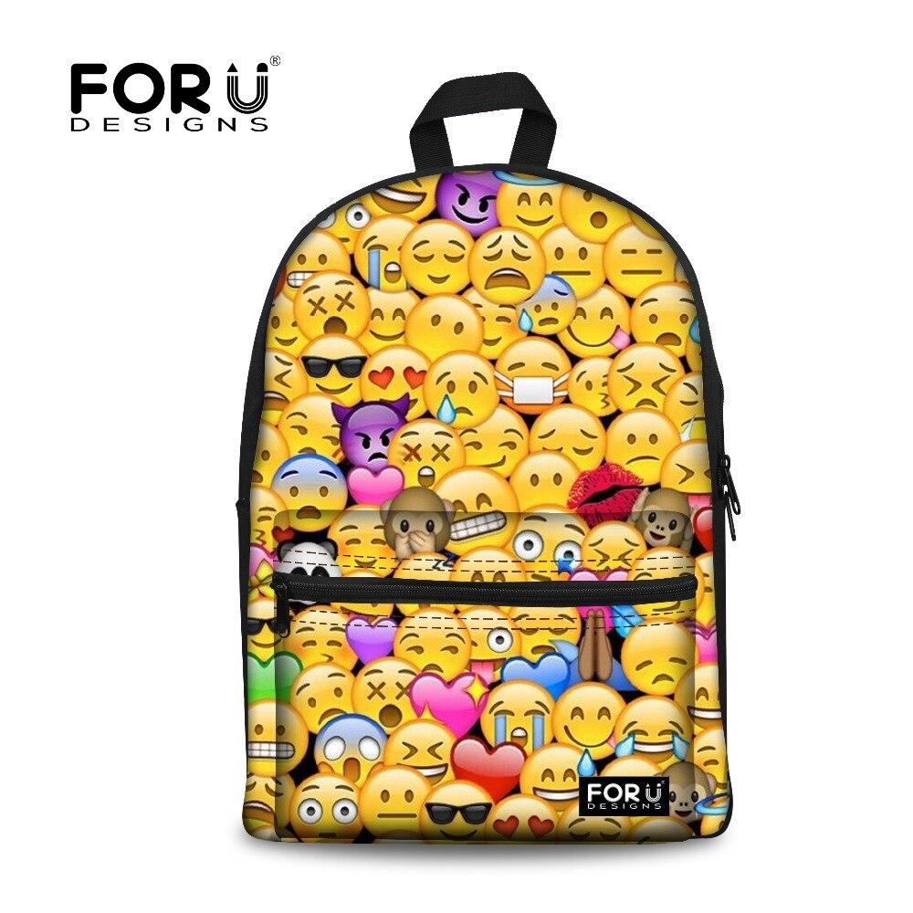 Forudesigns Начальная Школа сумка Смешные смайлики Уход за кожей лица Печать школьный Рюкзаки для подростков Обувь для девочек Kawaii рюкзак ранцы