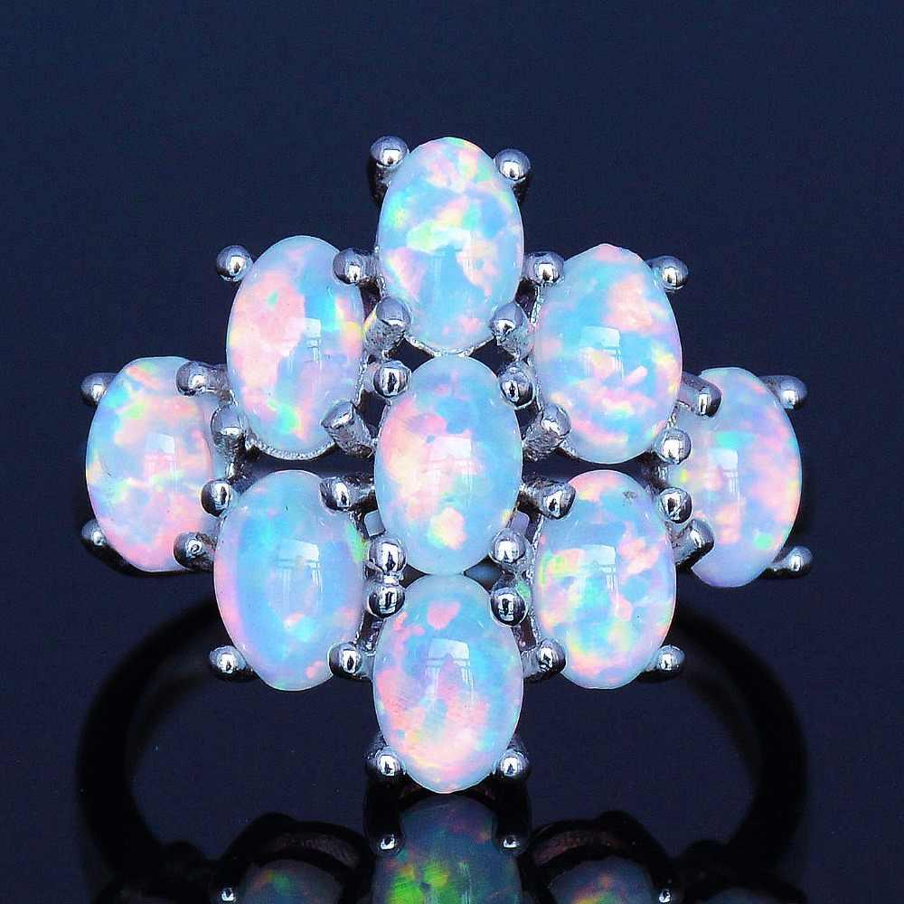 Fashion Real White Pink Pearl Blue Fire Opal Cluster Adjustable Bangle Bracelet