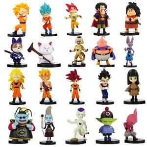 Image 1 - 20 pz/lotto Dragon Ball Z Figura Goku Vegeta Super Saiyan Dio Hercule Freezer Boo Beerus Whi DBZ Mini Modello IN PVC giocattoli Bambole