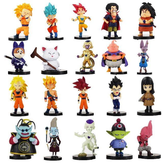 20 pz/lotto Dragon Ball Z Figura Goku Vegeta Super Saiyan Dio Hercule Freezer Boo Beerus Whi DBZ Mini Modello IN PVC giocattoli Bambole