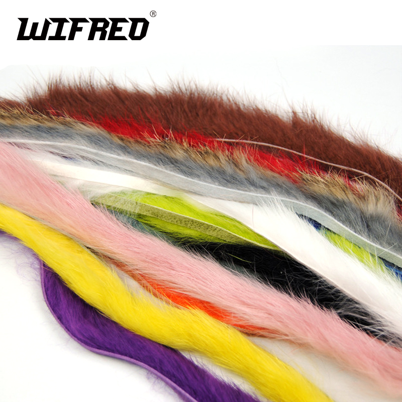 12PCS 12 Color Vertical Cutting Rabbit Hair Strips Genuine Rabbit Fur Strip for Fly Tying Zonker Streamers / Hare Dubbing Fiber