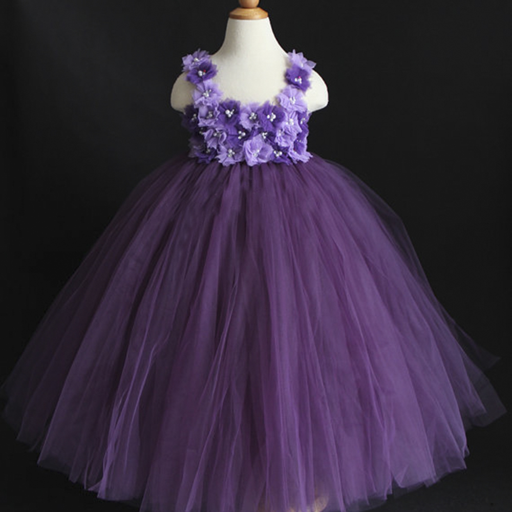 Dust Plum Eggplant Purple Violet Mixed Flower Girl Tutu