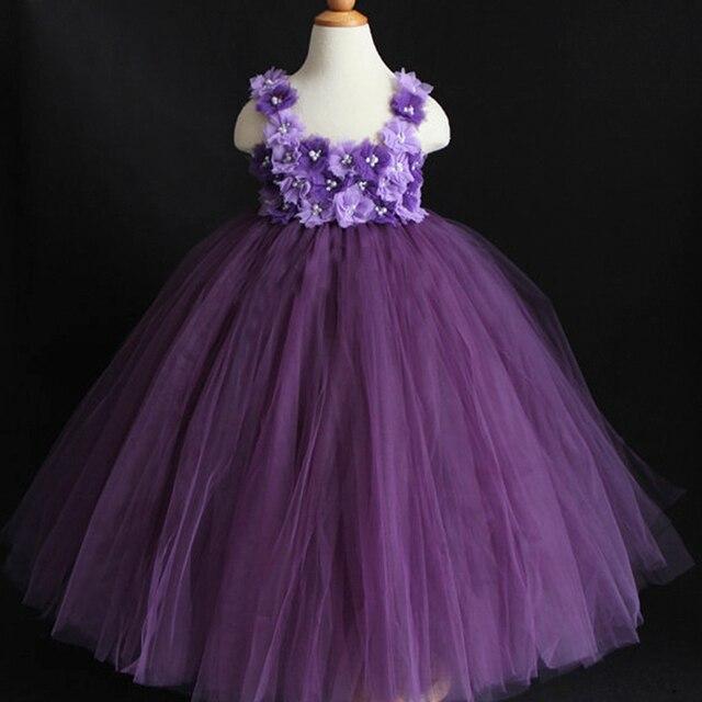 9f8ead0c60e Dust Plum Eggplant Purple Violet Mixed Flower Girl Tutu Dress Birthday  parties dress Easter dress Occasion dress PT137