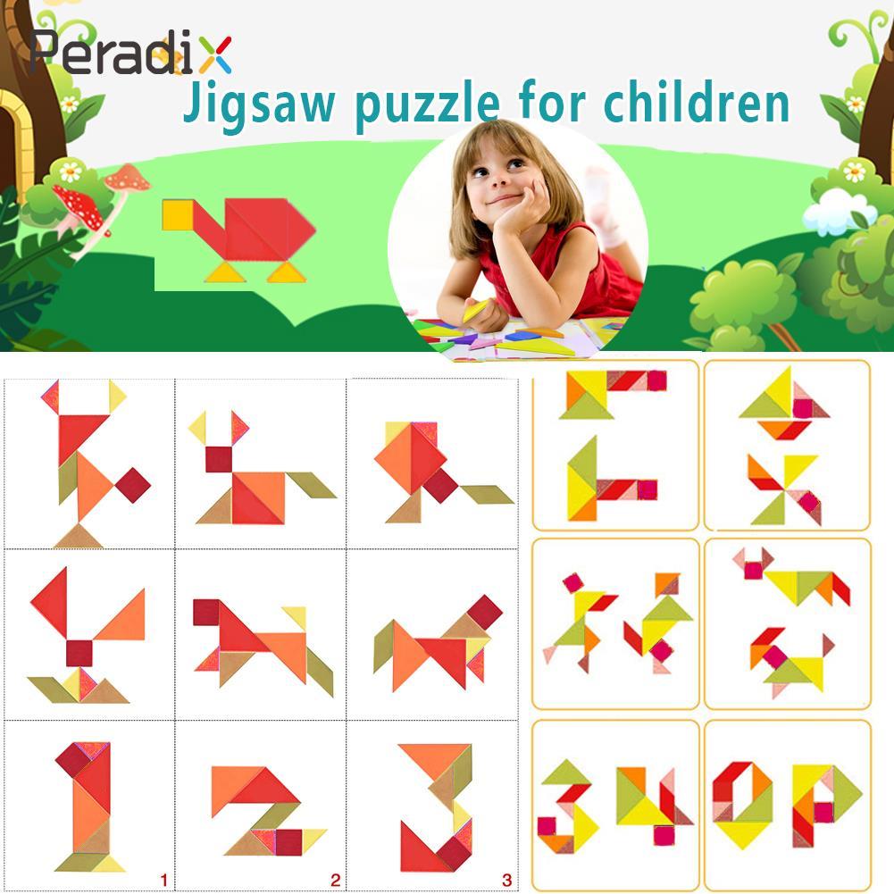 Puzzle Tangram Jigsaw Board Cool Intelligent Plastic Brain Teaser Children IQ Game Development Fun